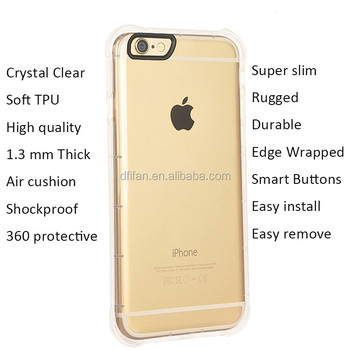 DFIFAN hotselling shockproof case back cover for iphone 6 / 6 plus,clear TPU Case for apple iphone 6s plus covers