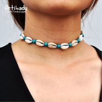 Artilady Best selling China jewelry factory supply handmade natural shell choker vintage velvet rope wood beads blue necklace