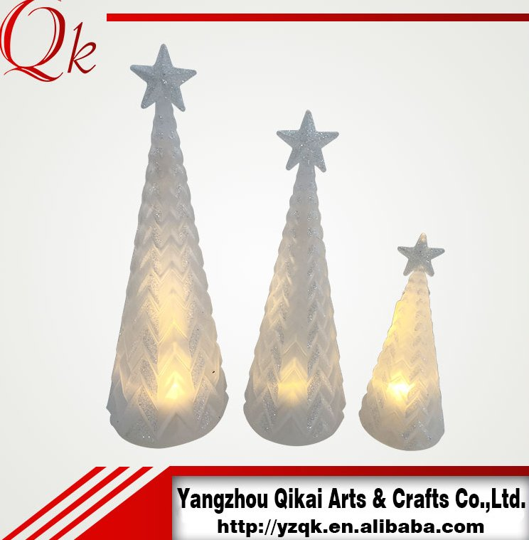 pretty glass christmas tree with led light for home/hotel/party/shop decoration