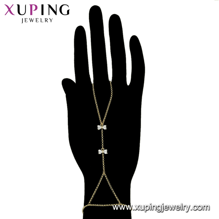 76018 xuping fashion design 14k gold plated hand chain bracelet with bowknot
