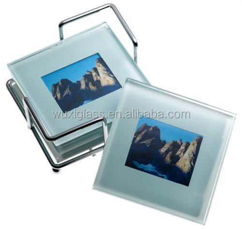 Global Decor Photo Frame Glass Coasters In Chrome Stand,Set Of 4 ...
