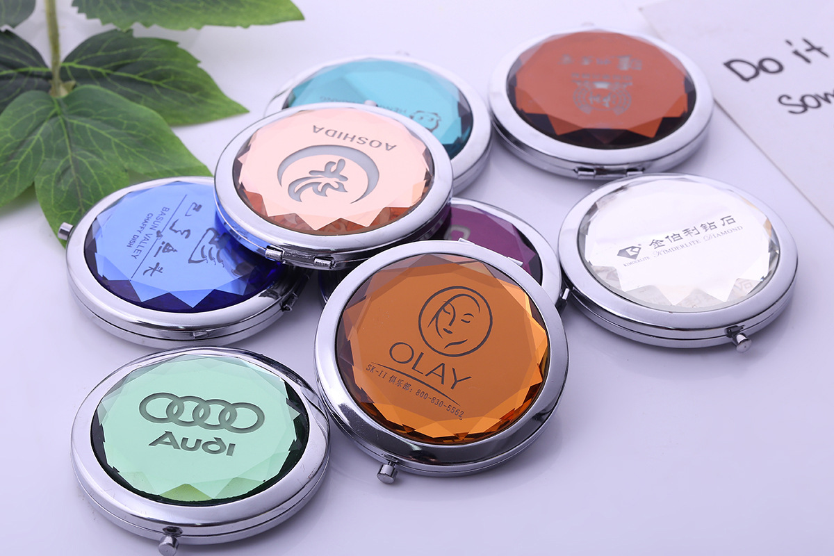 FREE PRINT LOGO YIWU Wholesale personalized Small Folding Colorful round custom compact makeup mirror / crystal Pocket Mirror