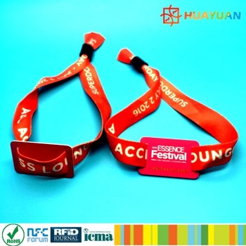 E Ticket Event Music Festival Rfid Ntag213 Fabric Wristband Woven Bracelet