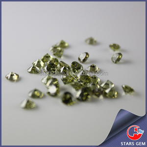 Heart 6X6mm CZ gemstone jewelry setting synthetic peridot stone price