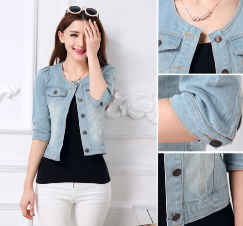 new 2015 fashion women ladies jeans denim jacket 3 4 sleeve short coat outerwear in basic. Black Bedroom Furniture Sets. Home Design Ideas
