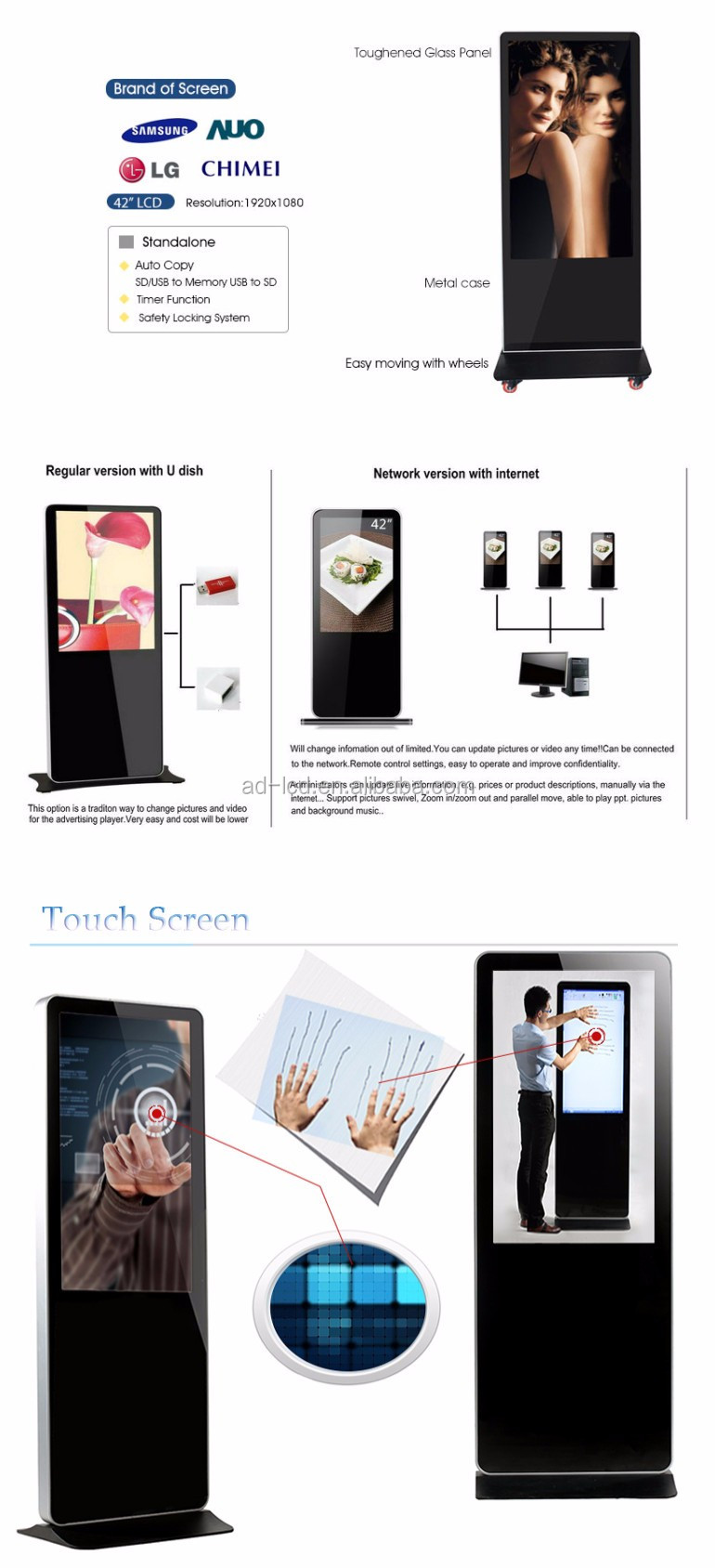 Customized High Quality Touch Screen High Sensitivity Advertising Display Floor Standing 55 Inch LCD Digital Signage Player