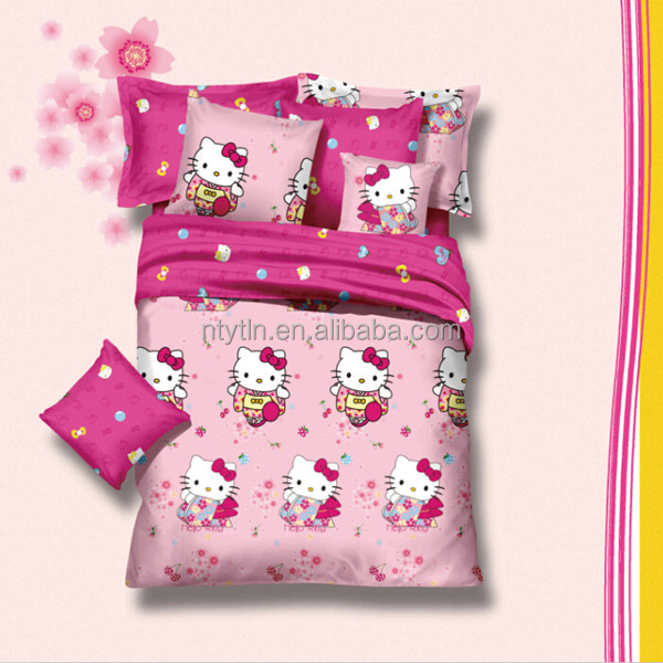 hello kitty design 100%cotton kids duvet cover set