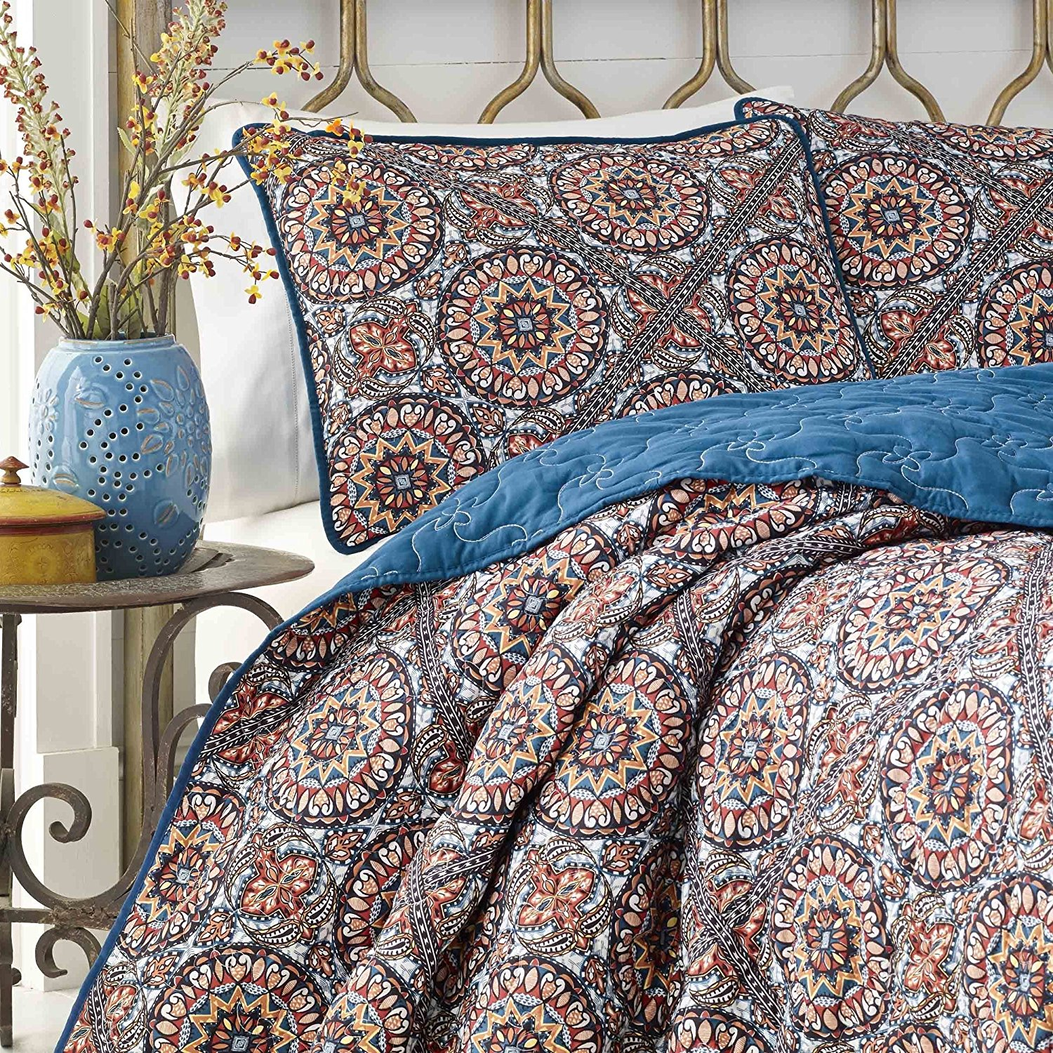 2 Piece Navy Blue Red Tan Bohemian Intricate Theme Quilt Twin Set, Beautiful All Over Boho Chic Floral Bedding, Multi Geometric Line Flower Scroll Themed Pattern, Microfiber