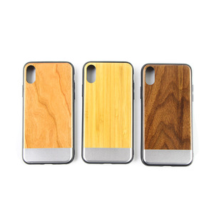 Mobile Phone Accessories, Wooden Cell Phone Cover for iPhone 8, Metal Bumper Smart Phone Case for iPhone X