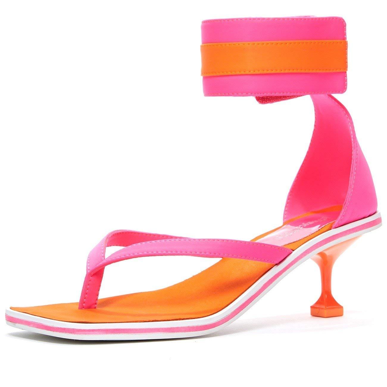 34e1613c70b Get Quotations · Jeffrey Campbell Dribble Sporty Kitten Heel Neoprene Sandal  Pink Orange