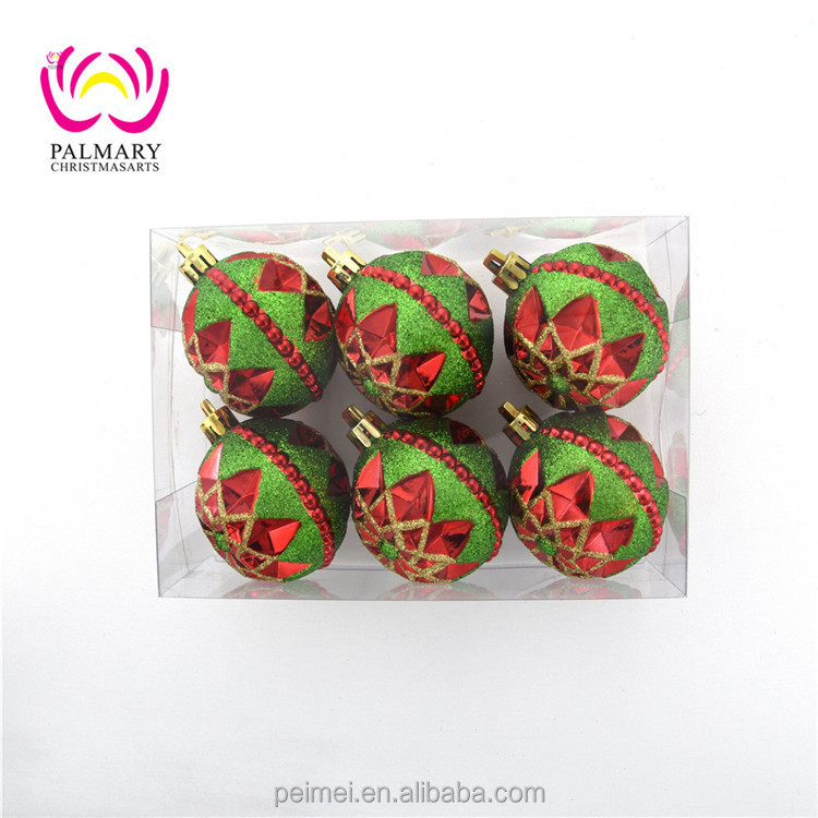 Factory wholesale Flower shape hand printed christmas tree bauble , indoor &outdoor christmas party decoraton ball xmas ball