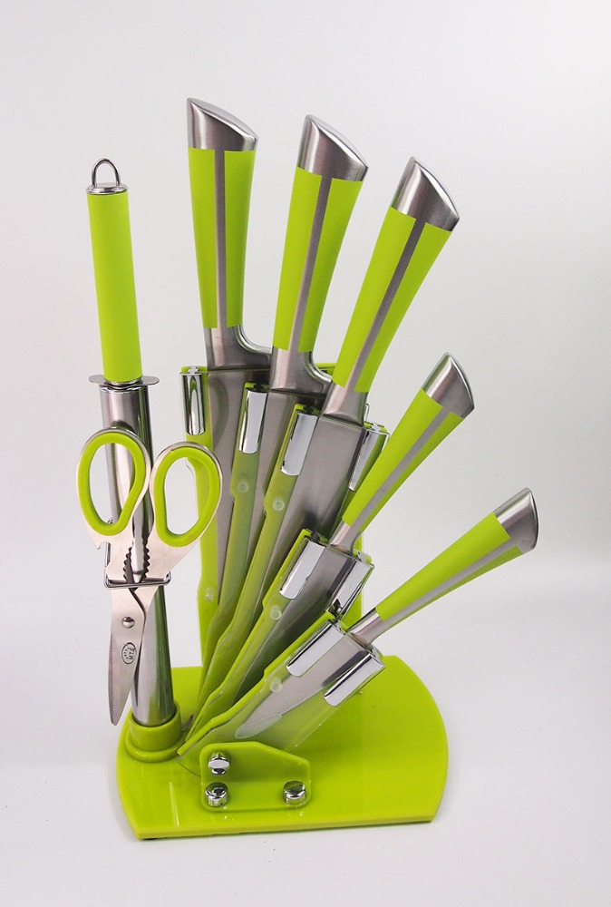 5 pcs colorful Kitchen Knife Set with acrylic rack