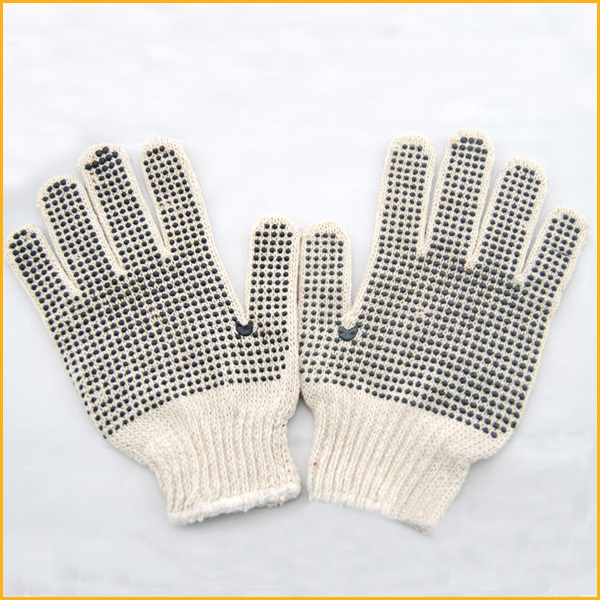 Non slip cotton glove Industrial pvc dotted cotton workplace String Knit safety gloves with Dots