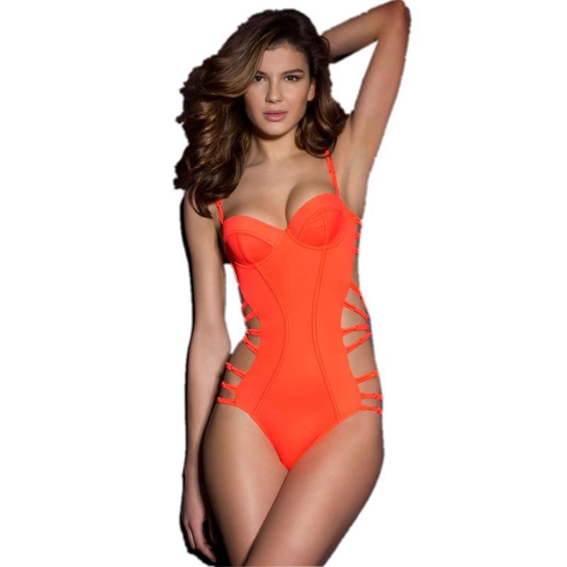 987fc101c6 Triangl swimwear bikini neoprene 2015 summer style sexy neon coral strappy  wrap push up monokini swimsuit thong 41390