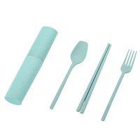 China Suppliers New Creative Products Biodegradable Wheat Straw Eco-Friendly Fork Spoon Chopsticks Camping Tableware Set