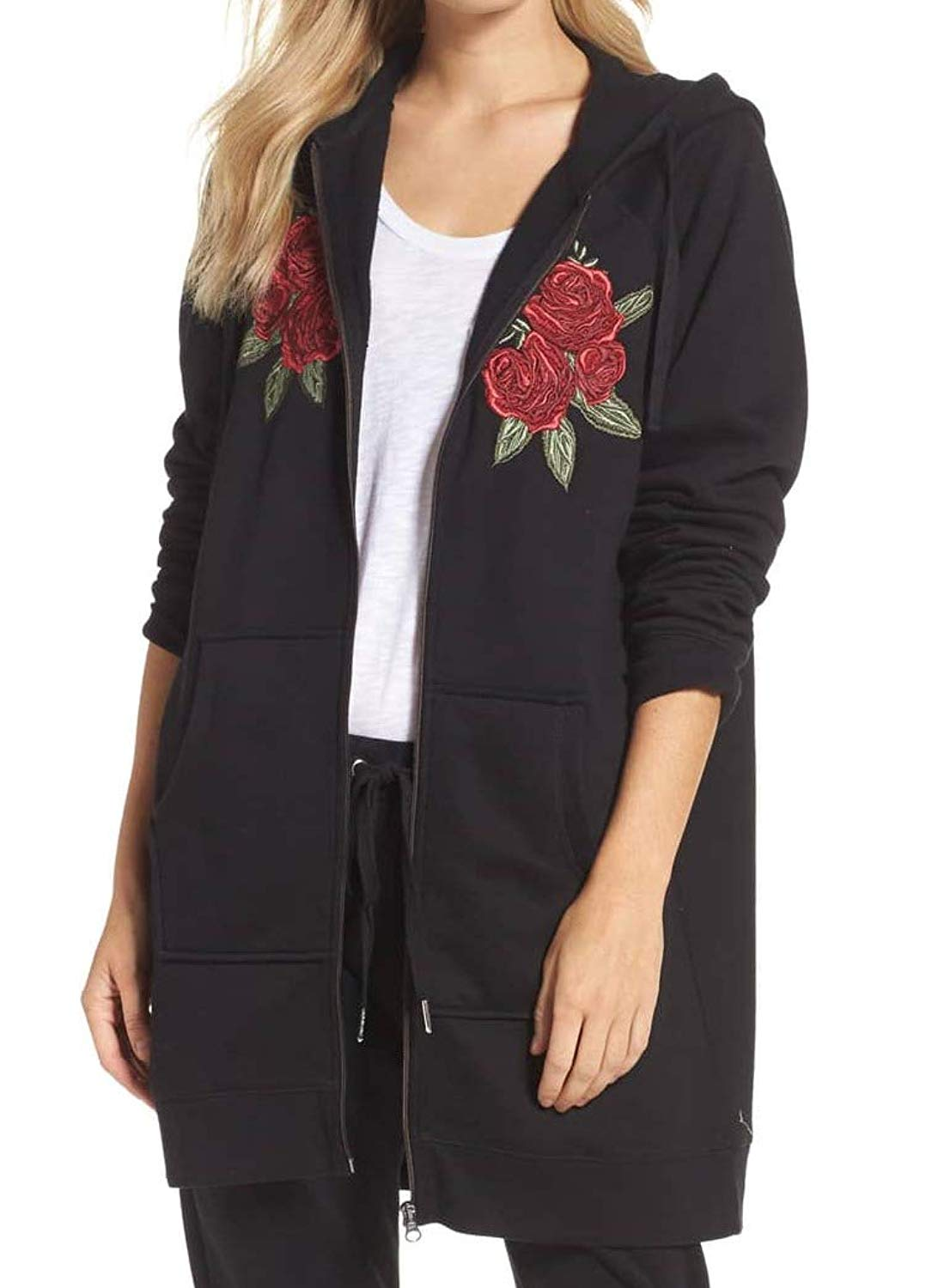3ac7385d6b45 Get Quotations · Brunette the Label Womens Floral Full Zip Sweater Black XS