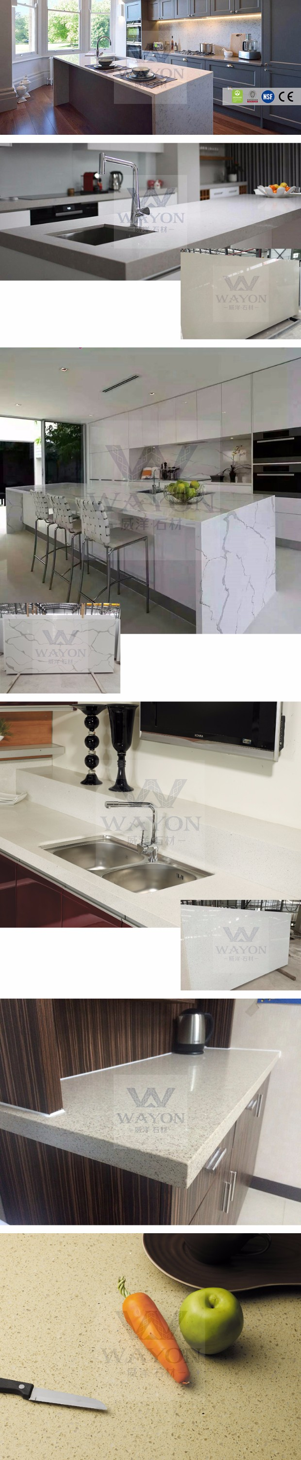 Artificial Quartz Stone crystal with mirror for kitchen