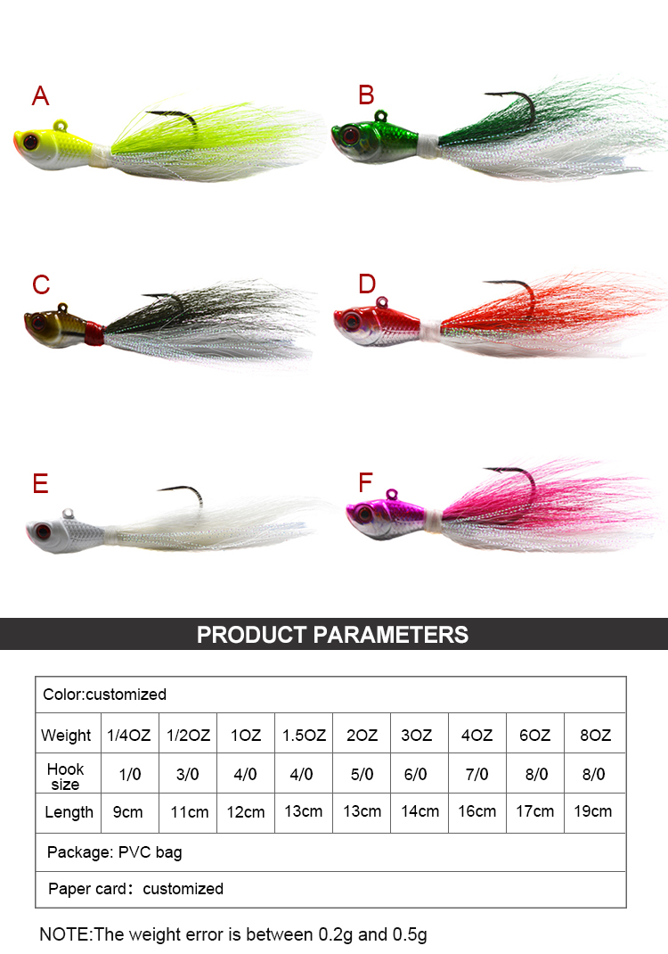1.5 oz bucktail jigs 3D eyes Luminous saltwater Bass lead head bucktail fishing lures