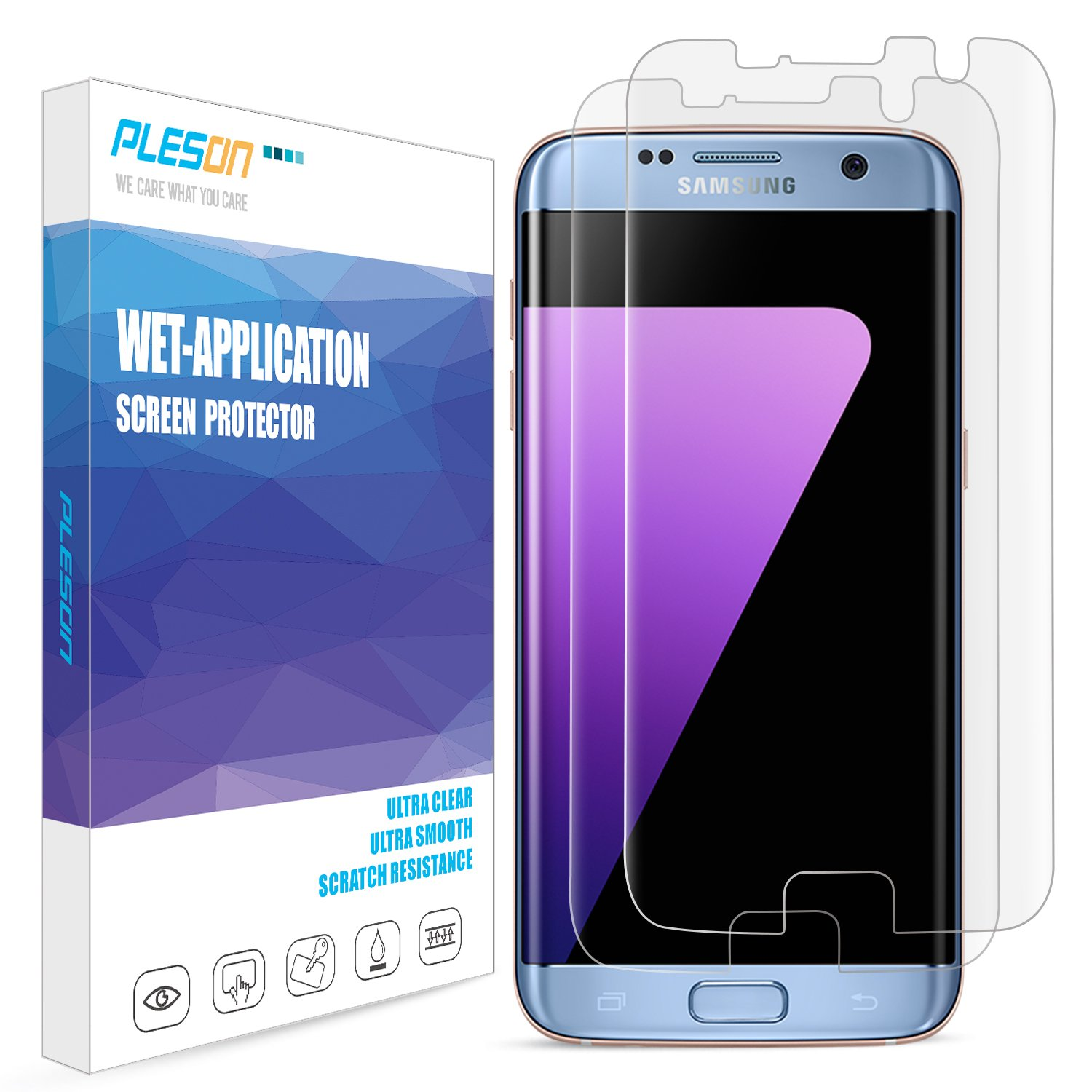 Galaxy S7 Edge Screen Protector, [2-Pack] PLESON [Case Friendly] [Updated Version] [Full Coverage] [Bubble-Free] [No Lifted Edges]Wet Applied HD Clear Film Screen Protector for Samsung Galaxy S7 Edge