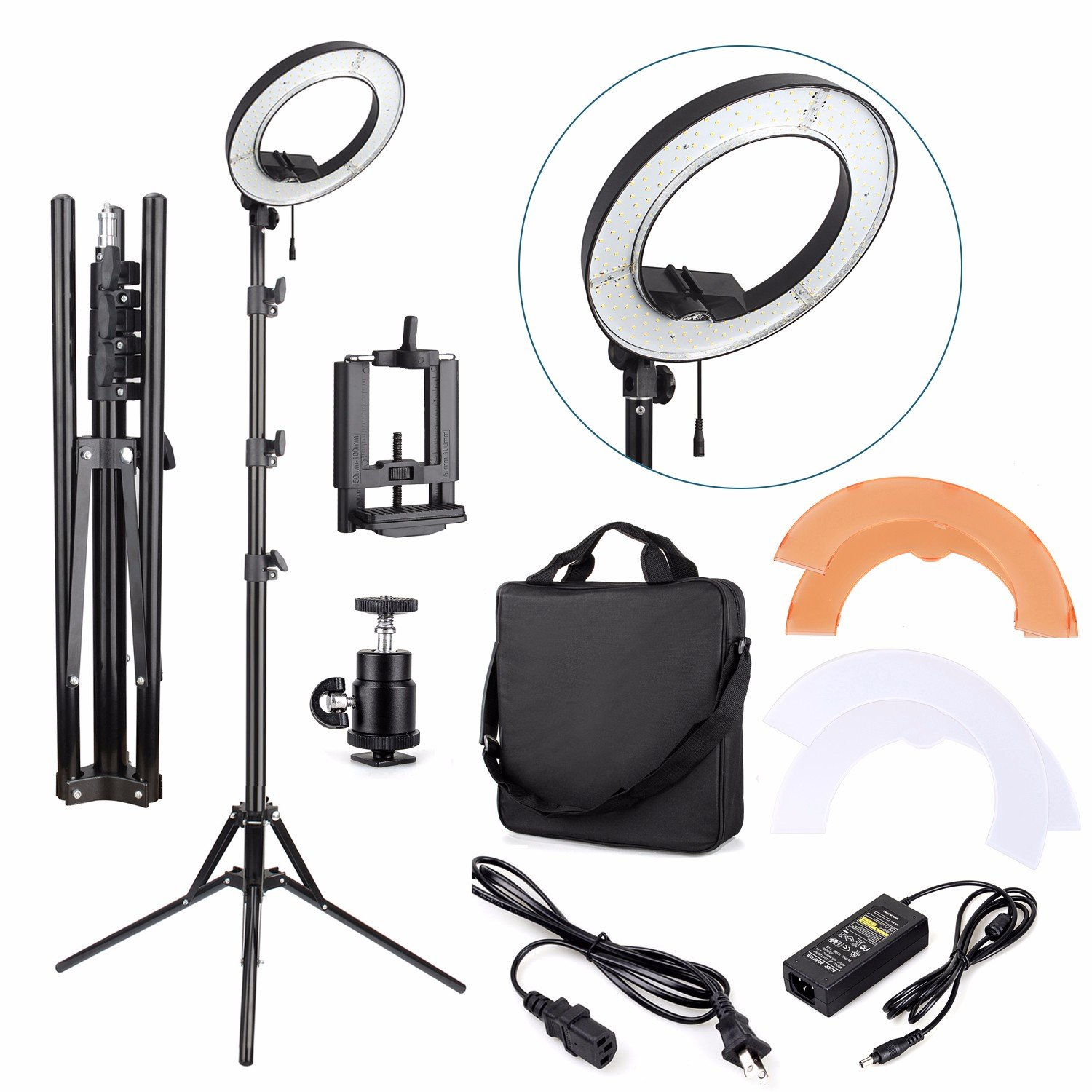 """EACHSHOT ES180 Kit, {Including Light, Stand, Phone Clamp, Tripod Head }180 LED 13"""" Stepless Adjustable Ring Light Camera Photo/Video Portrait photography 180pcs LED 5500K Dimmable"""