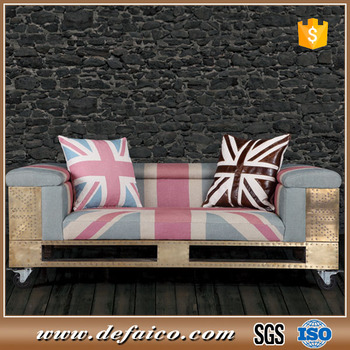 Merveilleux Copper Cover Vintage Fabric Union Jack Sofa With Wheels