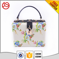 Wholesale Elegant Floral printed PU Leather Handbags Clutch Bags For Evening Party