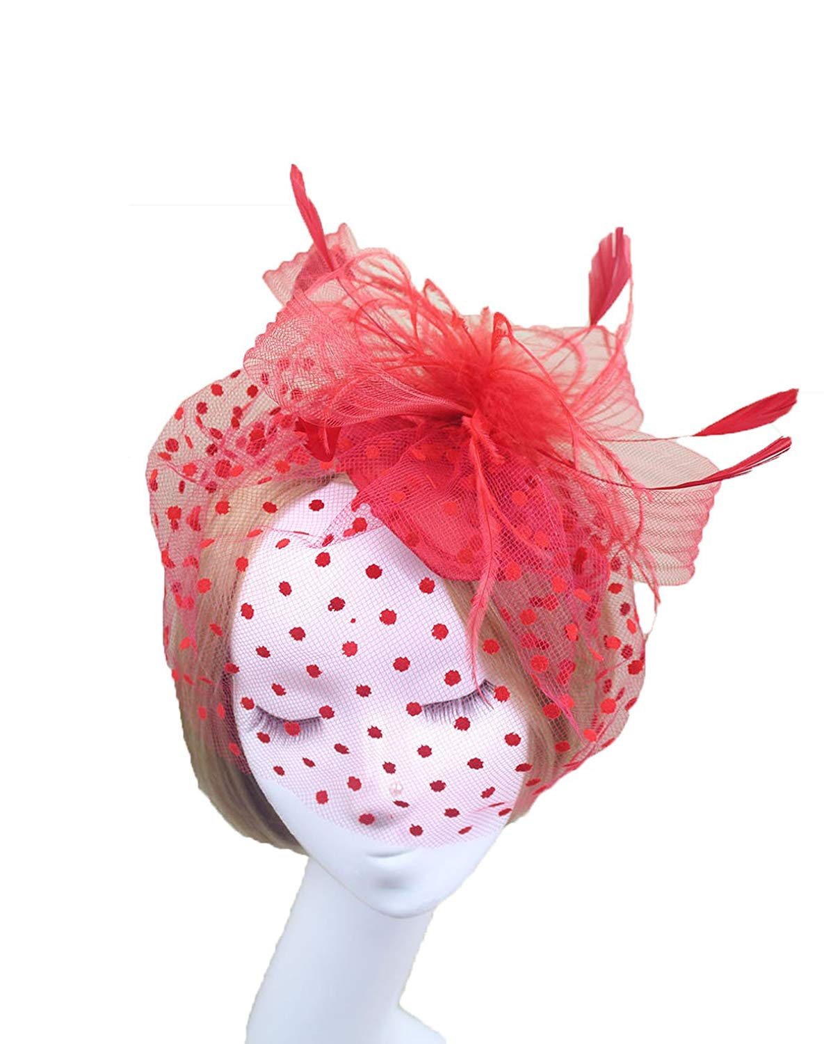 70463bdc815 Get Quotations · Topfly® Women s Feather Veil Derby Fascinator Cocktail  Party Hair Clip Hat