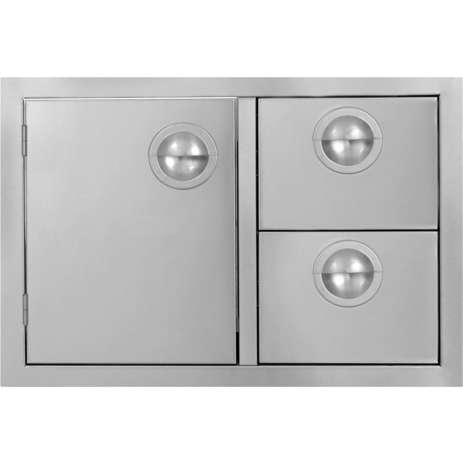 Bbqguys.com Portofino Series 30-inch Stainless Steel Double Drawer & Roll-out Propane Tank Storage Combo
