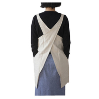 Soft Cotton Linen Apron Solid Color Halter Cross Bandage Aprons Japanese Style X Shape Double Pockets Cooking Aprons
