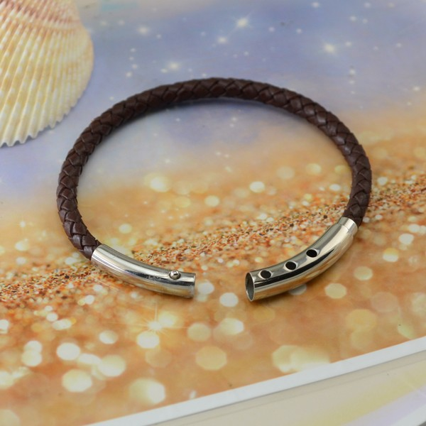 Wholesale Brown Single Rope Leather For Men Women Stainless Steel Bracelets