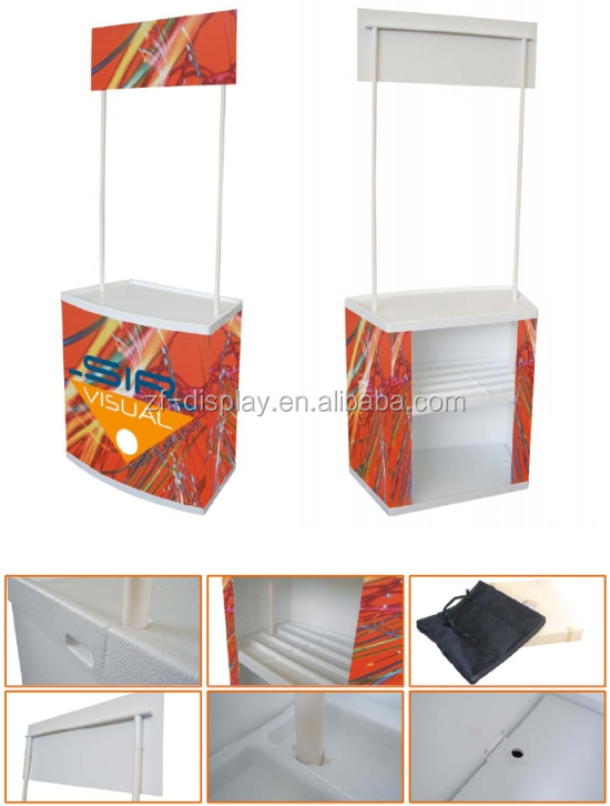 Portable expo customized folding screen promotion counter, plastic promotional table