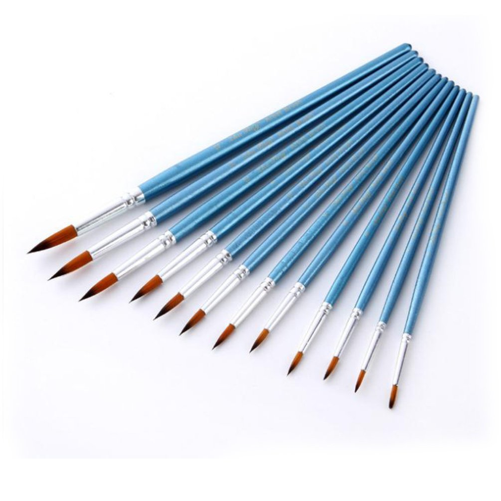 StarVast Painting Brushes, 12pcs Professional Pointed Paint Brush Set for Watercolor, Oil, Acrylic, Crafts, Rock, Nail, Face Painting and Gouache