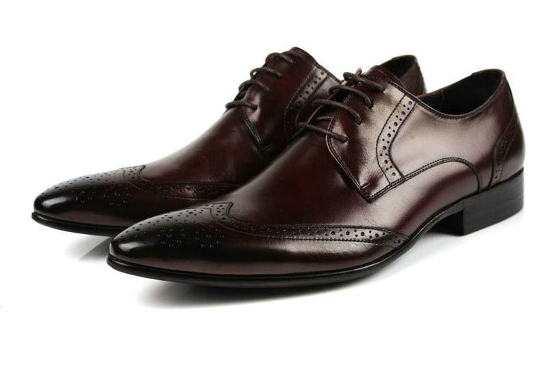 2015 Italian designer black brown cowhide genuine leather men dress shoes brogues flats for wedding office business size:6-10