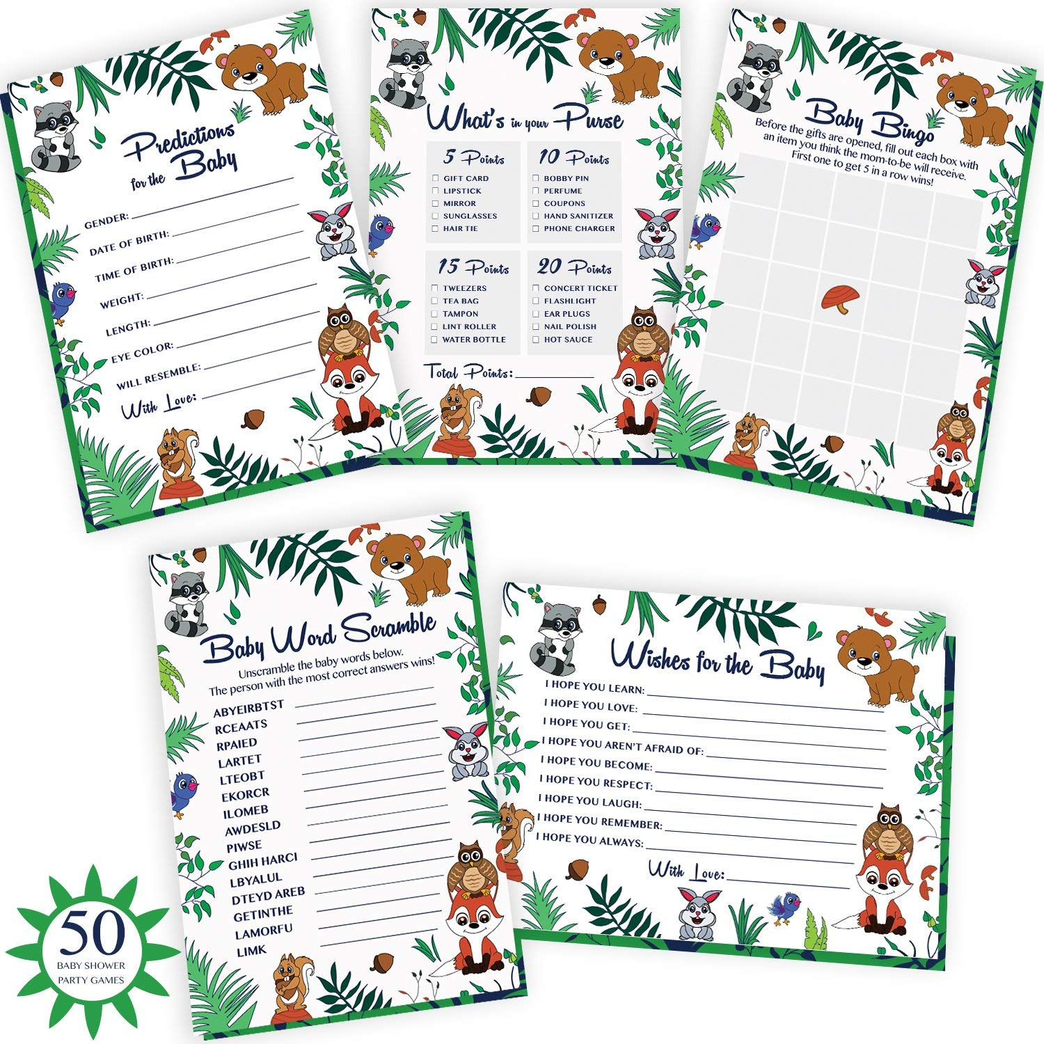 Alpine Celebrations Woodland Baby Shower Games. 5x50 Party Supply Cards Include Wishes & Advice, Bingo, Word Search, Predictions. Gender Neutral Cards for boy or Girl