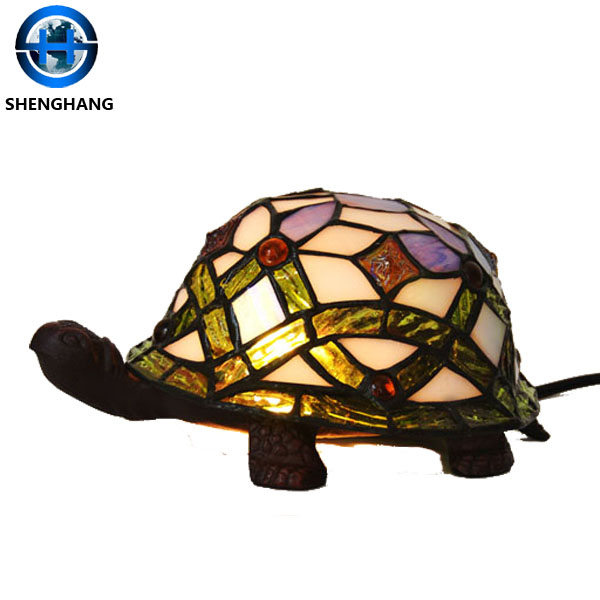 New product classic desk lamp with cute tortoise pattern tiffany glass mosaic table lamp