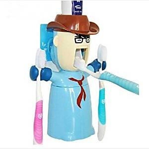 WONR- Love Warrior Multifunction Squeeze Toothpaste Toothbrush Holder Dispenser,Plastic Set 3 Pcs Random Color