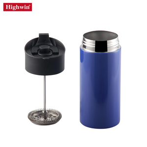 Highwin New Design Blue Paint Double wall Vacuum 305ml Coffee Press Stainless Steel 12 ounce