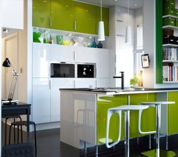 Hijau Lacquer Dapur Kabinet Dengan Hiasan Dinding Kaca Pintu Desain