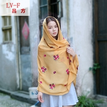 four seasons Scarves Shawl Classic Retro Dress Colours Plum Blossom Cotton Embroidered Scarf Wholesale Linen Scarf
