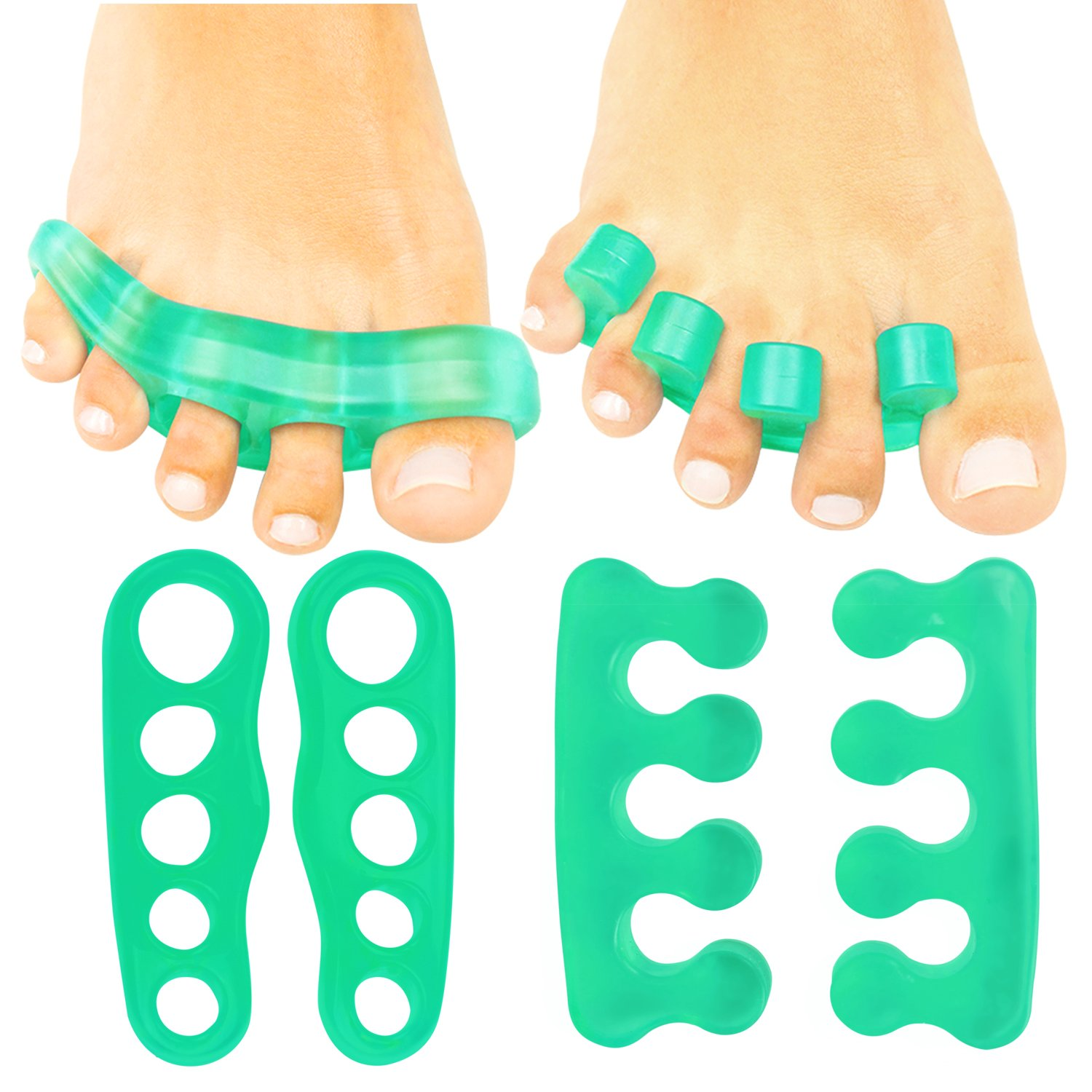 8c5898cb87b4 Get Quotations · Toe Separators by ViveSole - Gel Pedicure   Toe Spreaders  For Foot Yoga - Silicone Spacers