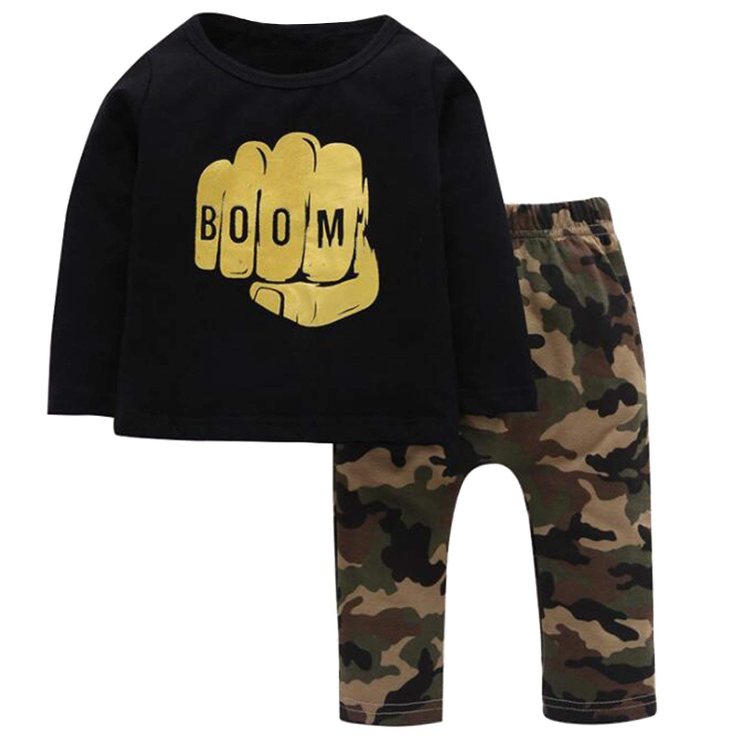 Baby Boys Toddler Gold Fist Letter Print T-shirt and Camouflage Pants 2pcs Sets