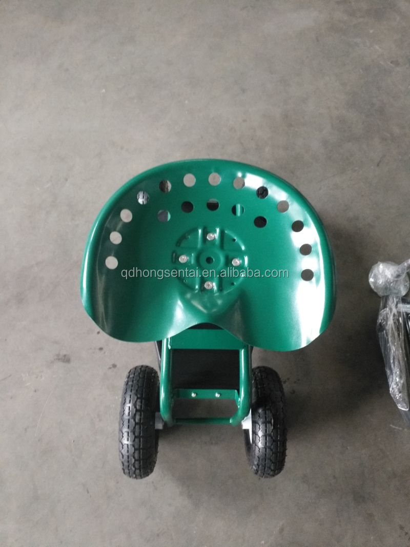 Garden Mesh Cart Rolling Garden Tractor Scoot Work Seat On Wheels With  Bucket Basket TC1852