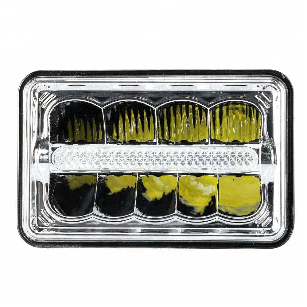 Square 4x6 inch led headlight white amber sealed beam 4x6 headlight 12v 24v car/truck 4x6 led headlight