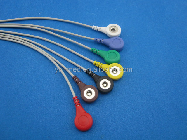 Din 1.5 style 7-lead AHA Snap Holter ECG cable with leadwires