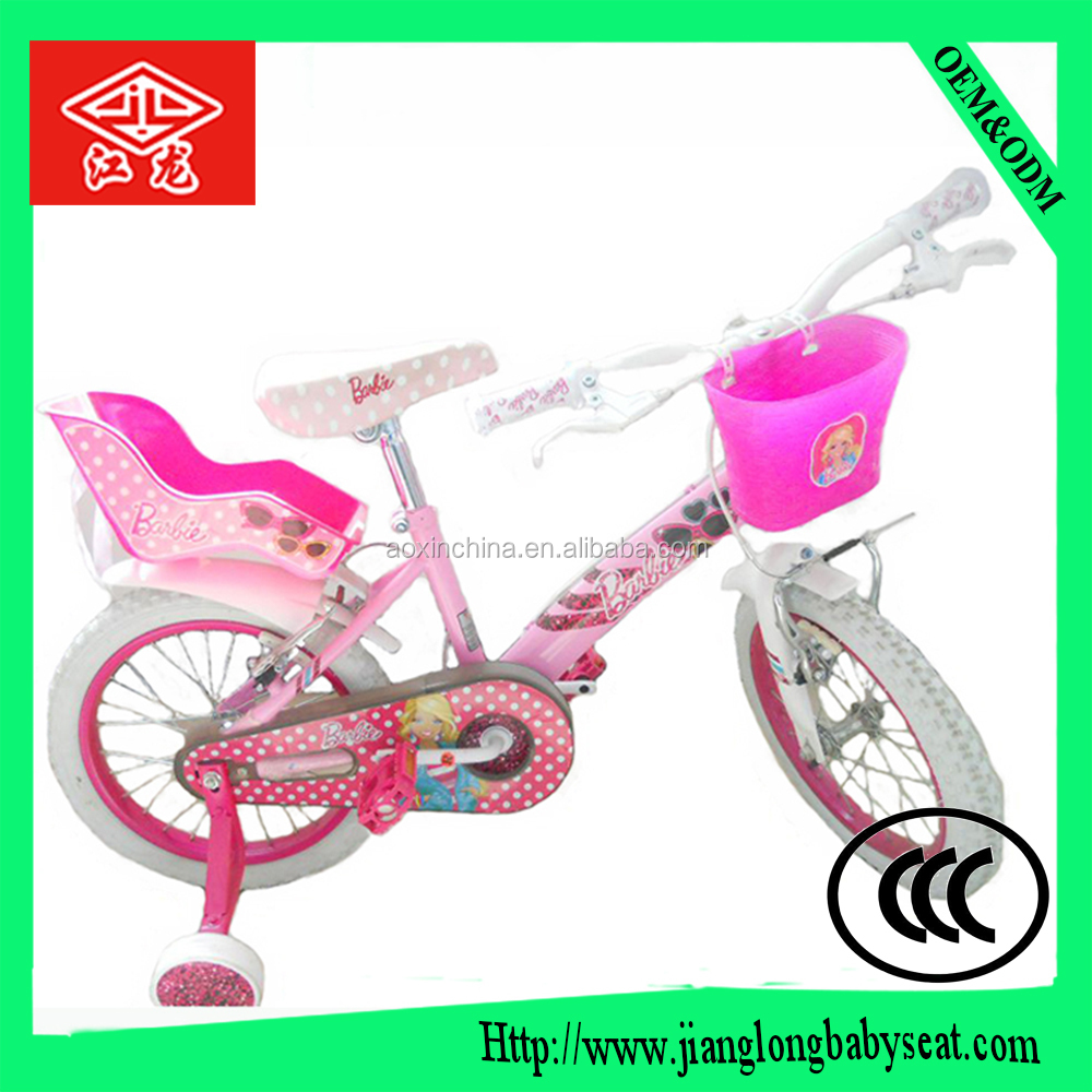 Good selling Children toy bike with doll carrier / cheap classic four wheel 18 inch girls bike / OEM