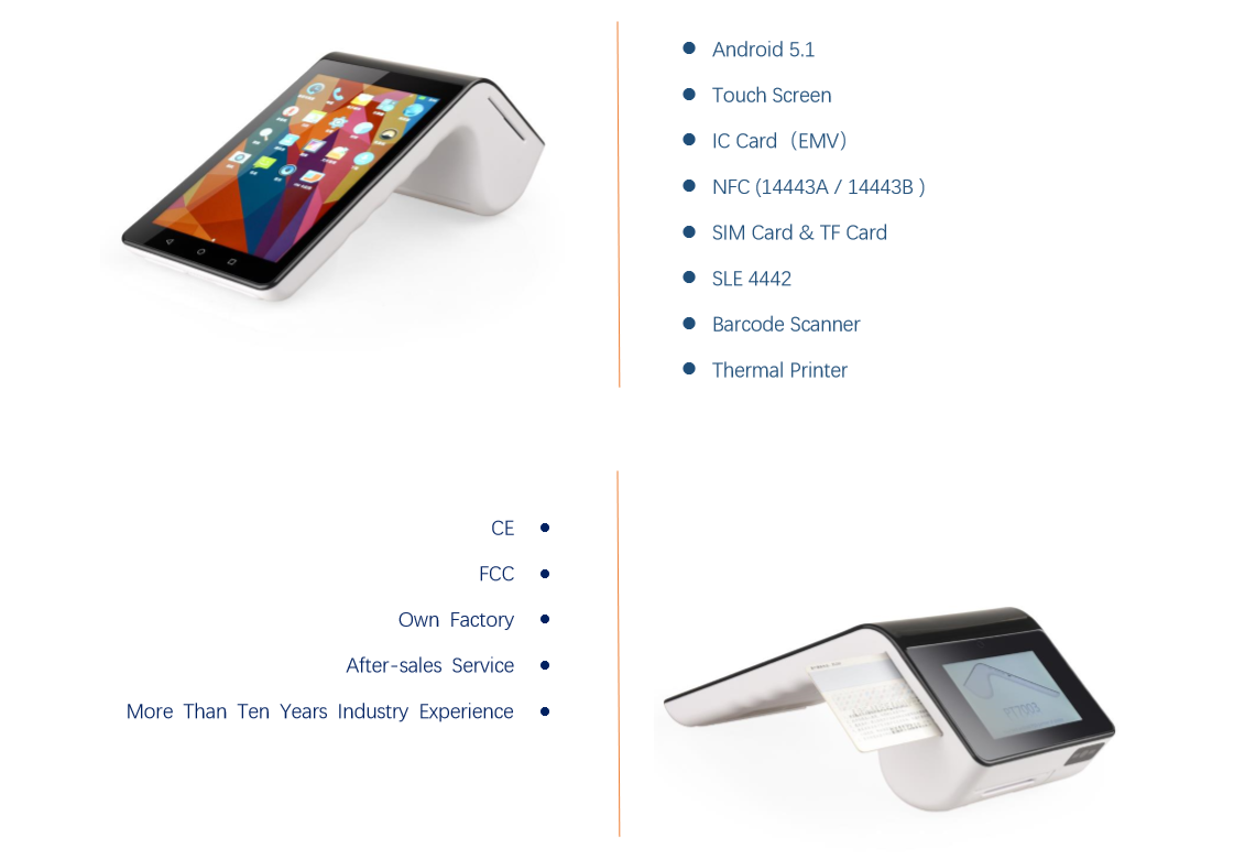 All in one mini Mifare terminal with touch screen and thermal printer