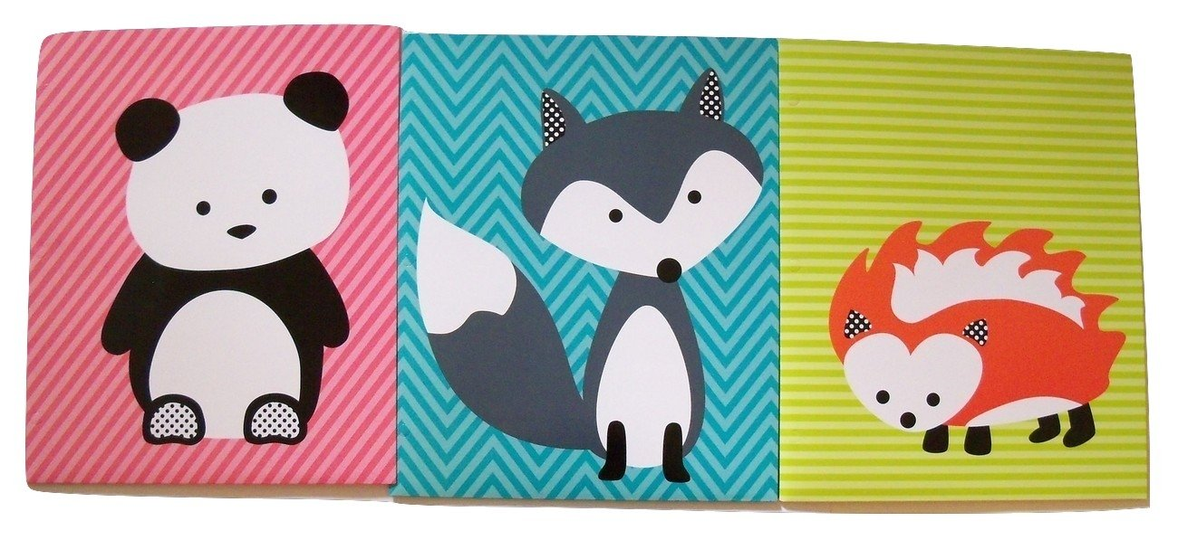 Carolina Pad Studio C 3 Folder Set ~ the Hair of the Dog Collection (Fox on Blue, Hedgehog on Green, and Panda on Pink Stripes)
