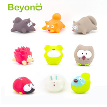 High Quality small rubber cartoon bath squirt spray water animal toy 9 Styles
