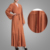 Fashion Design Long Sleeves Rusty Brown Embellished Front Open Wrap Around Dress Muslim Kaftan Islamic Clothing
