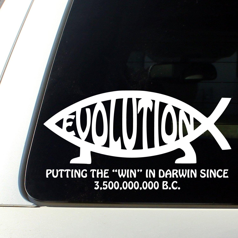 Buy Jesus Fish Darwin Evolution Sticker Evolve Atheist Decal White